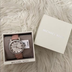 Blush pink and silver Michael Kors watch